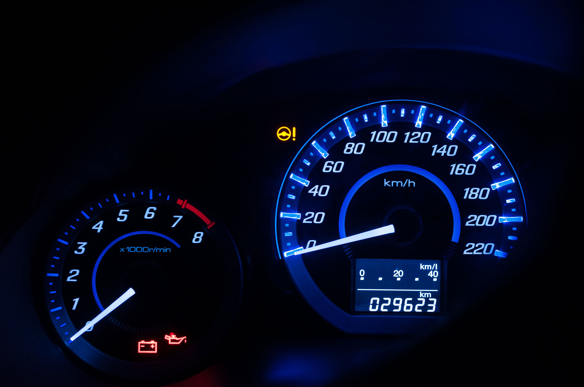gauges on a car dashboard